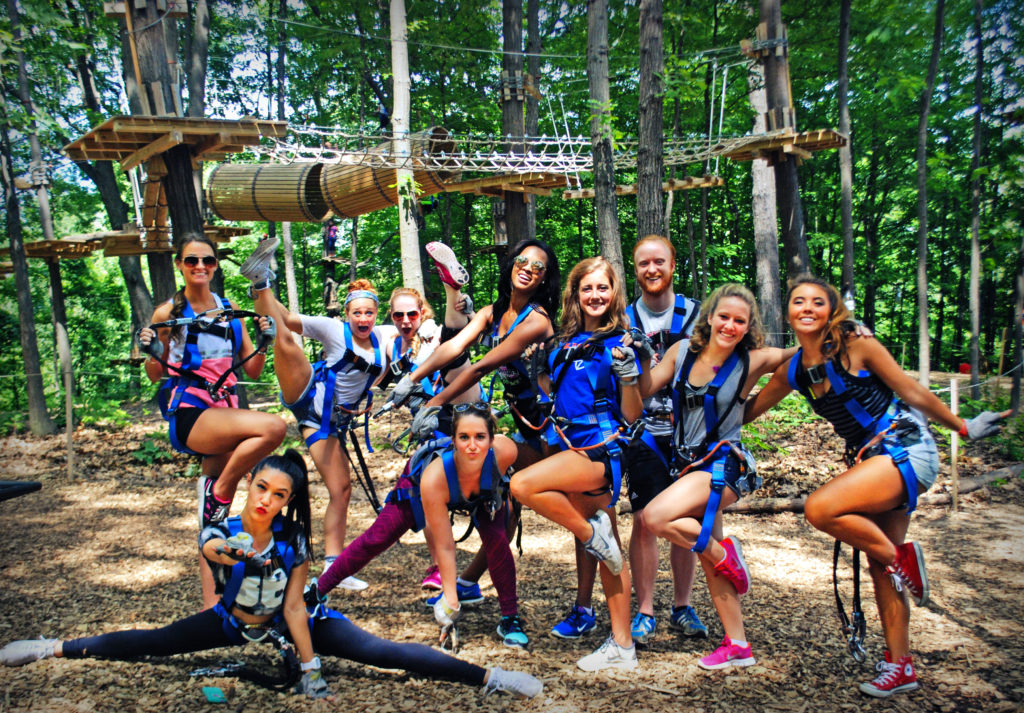 school groups zipline and climb